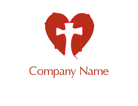 cross in front of a bleeding heart logo