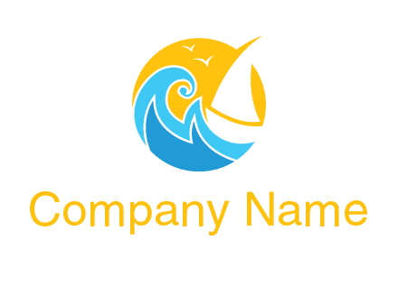sail boat on a rough sea logo