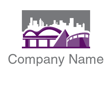city skyline logo with skyscrapers, a pyramid and rail road bridge