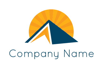 sunset behind pyramid logo