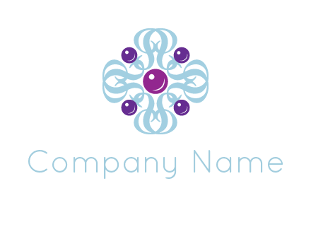 aquatic logo with purple pearls and