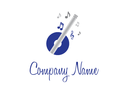 banjo or guitar logo with music notes