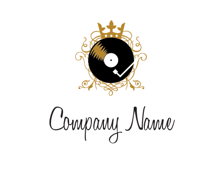 vinyl record with a crown and intricate patterns logo