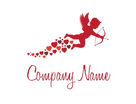 cupid logo with hearts and a bow and arrow
