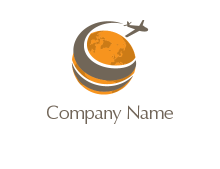 airplane flying around world logo