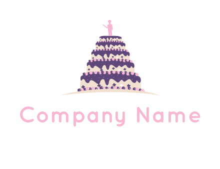 5 tier or layer cake with a figurine logo