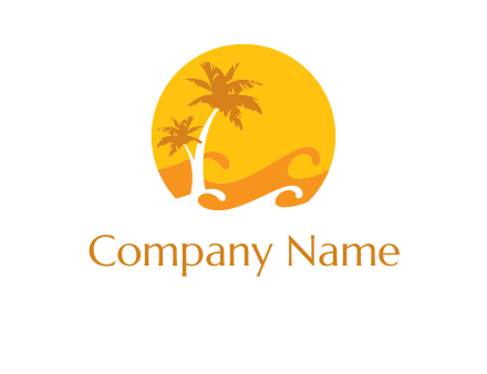 sun logo with palm trees and waves in front
