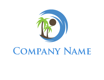 blue brush stoke or waves around sun and palm trees logo