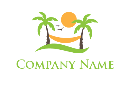 exotic vacation logo with the sun shining on a hammock connected to palm trees