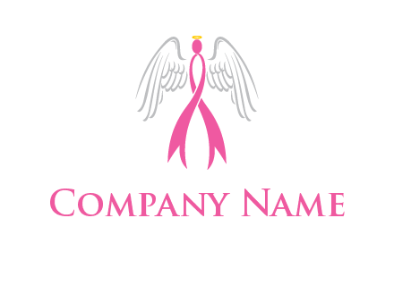 pink cancer ribbon angel logo with wings and halo