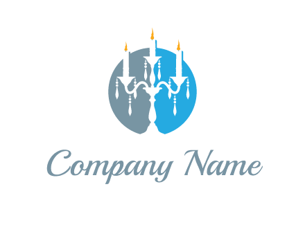 candelabra with crystals and burning candles logo