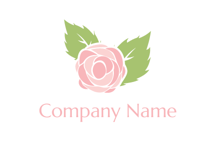 abstract rose flower with leaves logo