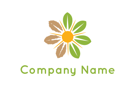 sunshine mixed with leaves forming flower logo