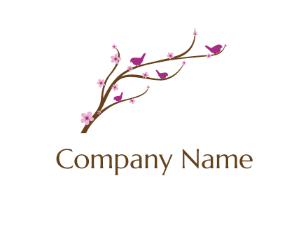 birds in the tree with flowers logo