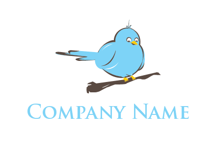 cartoon bird sit on wood logo
