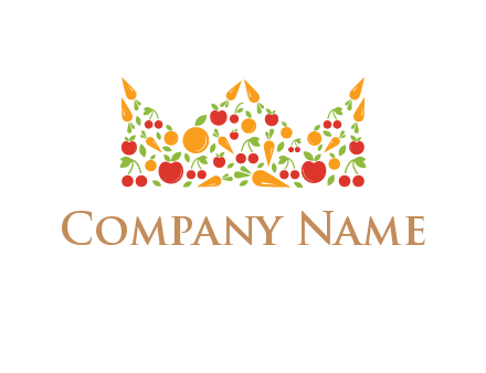 vegetables and fruits forming abstract crown logo