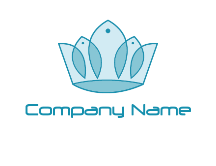 crown with abstract fish logo