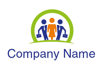 business people in circle HR logo
