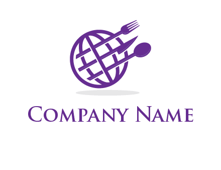 globe combined with fork spoon and knife logo