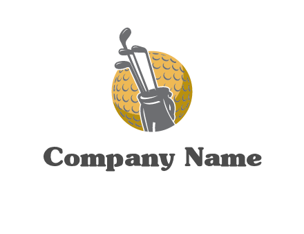 golf ball and stick sports logo