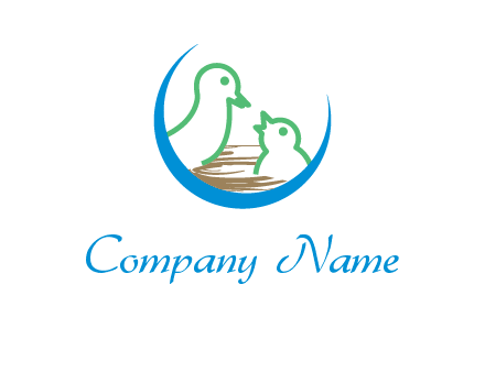 birds in a nest logo with a crescent