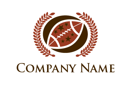 football and laurel wreath logo
