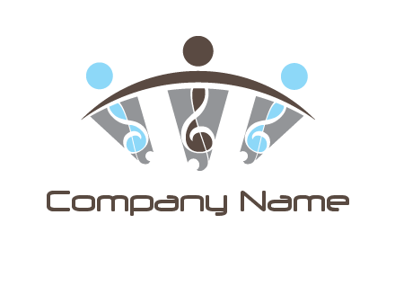 abstract persons and music notes logo