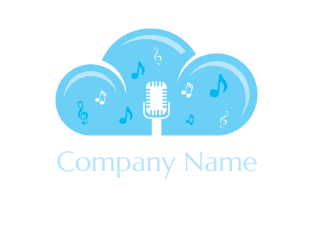 microphone and music notes in a cloud logo