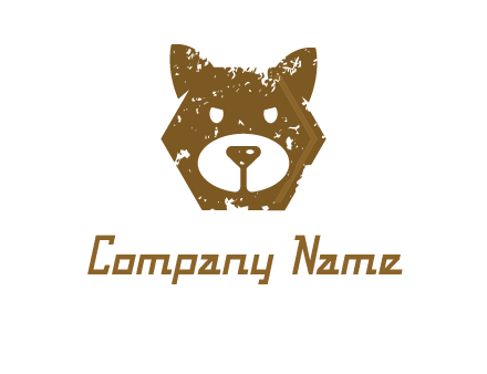 bear face grunge animal logo