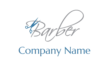 barber logo with scissors