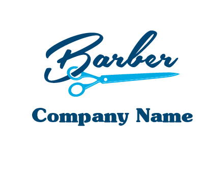 scissor entwined with barber logo