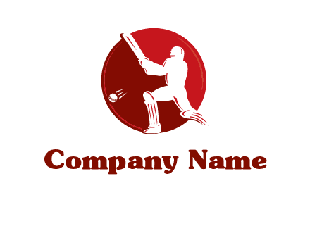 batsman in circle sports logo