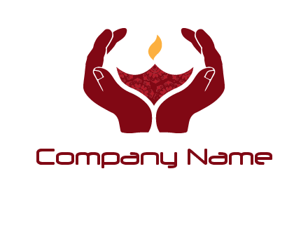 hand in religious lamp logo