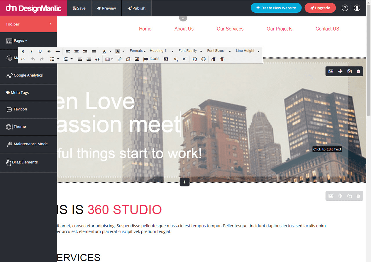 Tweak the style of your web template by adding images and texts.